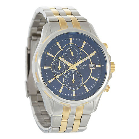 Accurist - Men+s silver chronograph dial striped bracelet watch mb934n