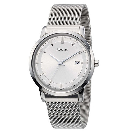 Accurist - Men+s silver mesh strap watch