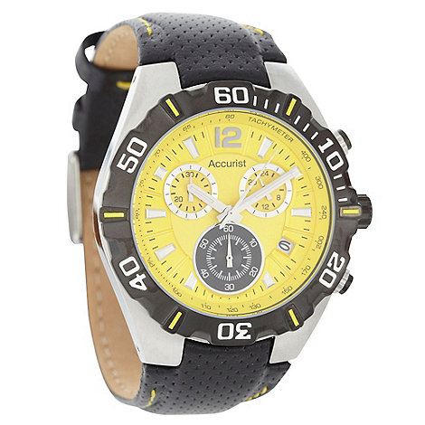 Accurist - Men+s black chronograph dial perforated leather strap watch