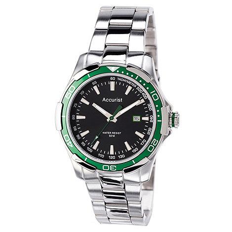 Accurist - Men+s silver contrast bezel watch