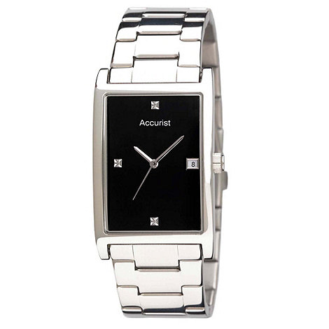 Accurist - Men+s silver curved rectangular dial watch