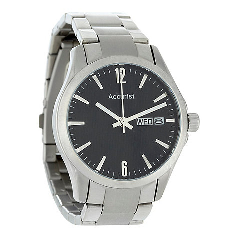 Accurist - Men+s silver oversized dial bracelet watch