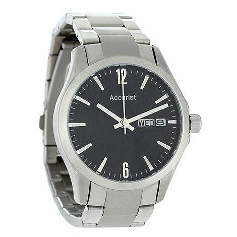 Accurist - Men+s silver oversized dial bracelet watch