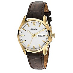 Accurist - Men's brown leather strap watch