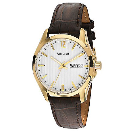 Accurist - Men+s brown leather strap watch