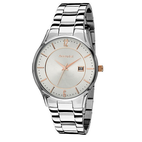 Accurist - Men+s silver round white dial watch