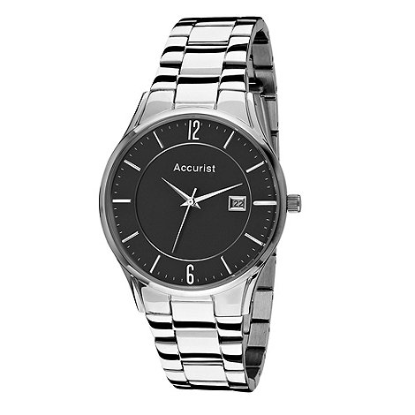 Accurist - Men+s silver round black dial watch