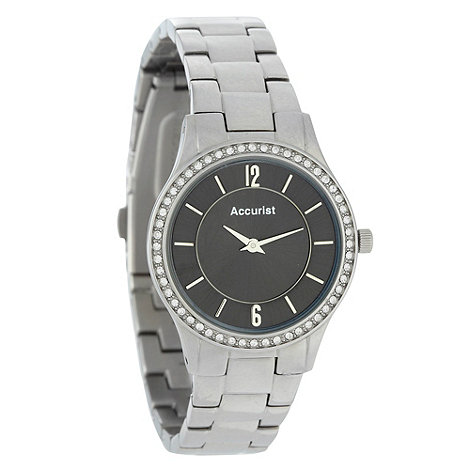 Accurist - Ladies silver diamante case watch