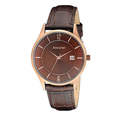 Accurist - Men+s brown dial leather strap watch