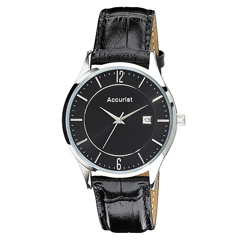 Accurist - Men+s black mock-crocodile leather strap watch