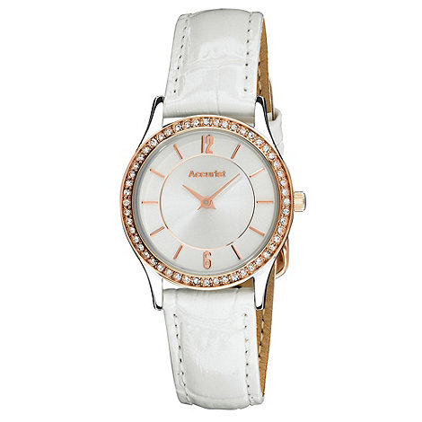 Accurist - Ladies white diamante bezel watch