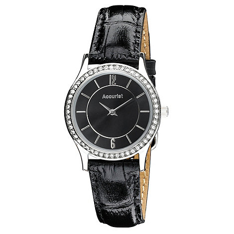 Accurist - Ladies black diamante bezel watch