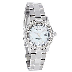 Accurist - Ladies silver narrow diamante case watch