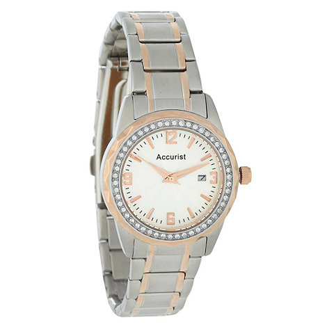 Accurist - Ladies silver and bronze bracelet watch