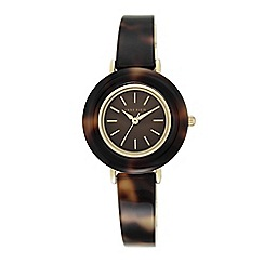 Anne Klein - Womens tortoise resin bangle watch with brown Mother of Pearl dial ak/n2524bmto