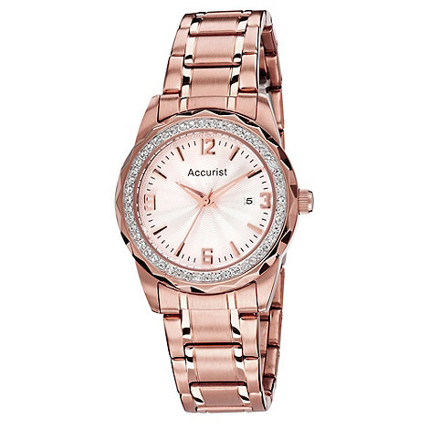 Accurist - Ladies pink stone dial watch