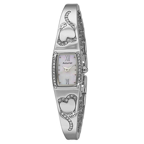 Accurist - Ladies silver diamante heart bracelet watch