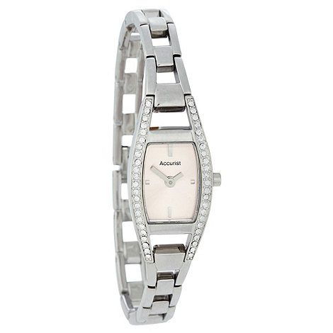 Accurist - Ladies stone set silver tone watch