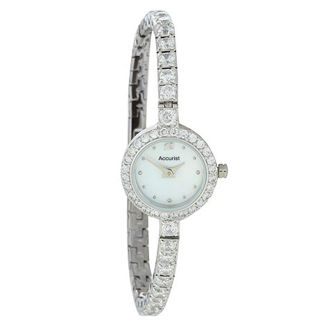 Accurist - Ladies silver crossover bracelet and diamante strap watch