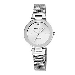 Anne Klein - Womens silver tone mesh watch with a diamond ak/n2473svsv