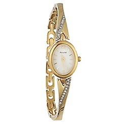 Accurist - Ladies gold wavy diamante bracelet watch