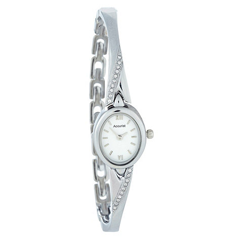 Accurist - Ladies silver oval dial bracelet watch