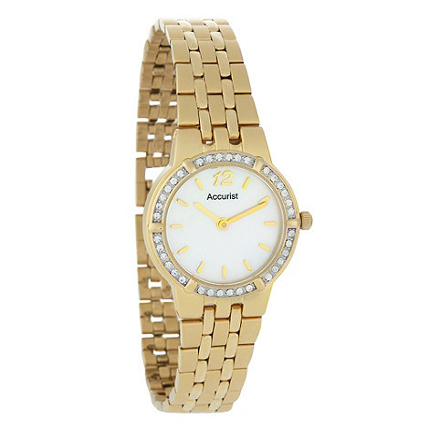 Accurist - Ladies gold diamante case watch