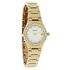 Accurist - Ladies gold diamante watch