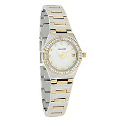 Accurist - Ladies silver striped bracelet watch
