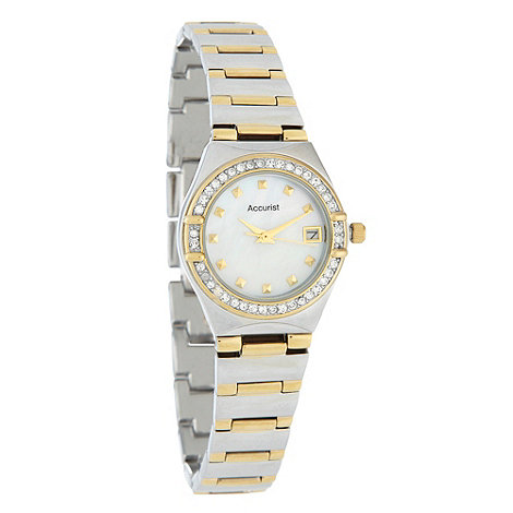 Accurist - Ladies silver striped bracelet watch