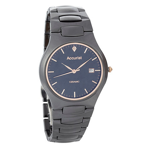 Accurist - Men+s black ceramic bracelet watch