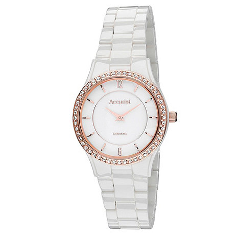 Accurist - Ladies white ceramic bracelet watch