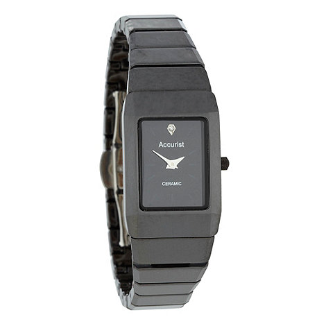 Accurist - Ladies black ceramic rectangular dial watch