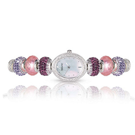 Accurist - Ladies silver diamante charm bracelet watch