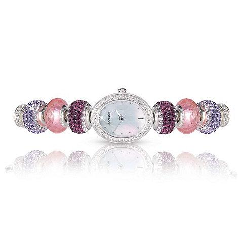 Accurist - Ladies silver diamante charm bracelet watch