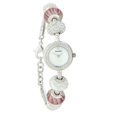 Accurist - Ladies silver charm beaded watch