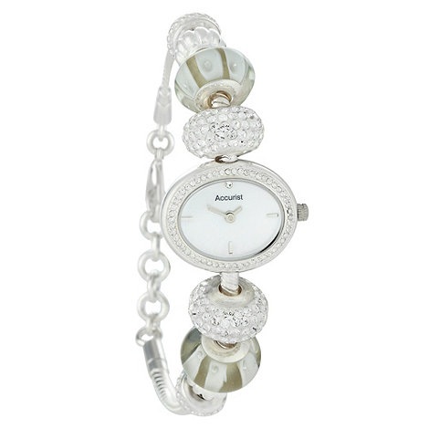 Accurist - Ladies silver bead and diamante charm watch