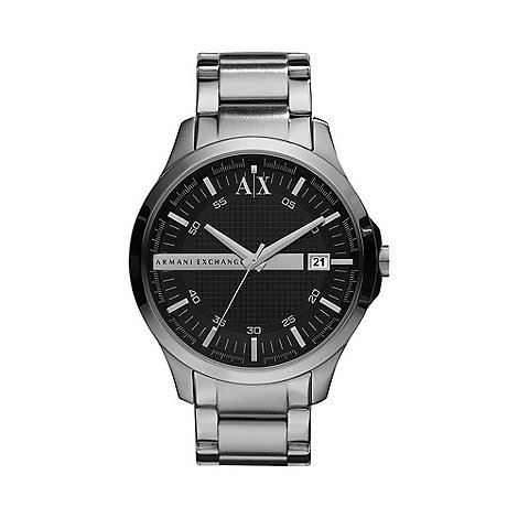 Armani Exchange - Men+s silver stripe watch