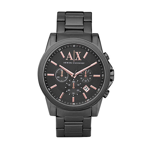 Armani Exchange - Men+s gunmetal chronograph watch