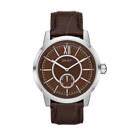 DKNY - Men+s brown snakeskin embossed leather strap watch