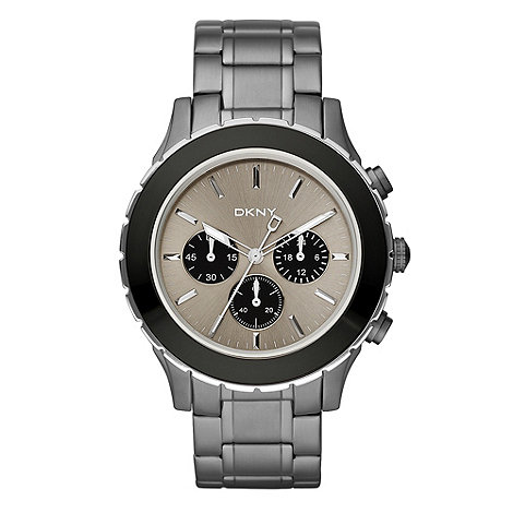DKNY - Men+s gunmetal black dial bracelet watch
