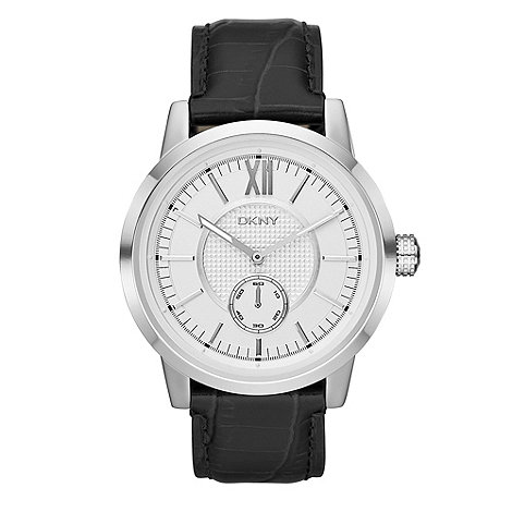 DKNY - Men+s black snakeskin embossed leather strap watch