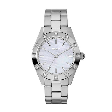 DKNY - Ladies silver crystal bezel bracelet watch