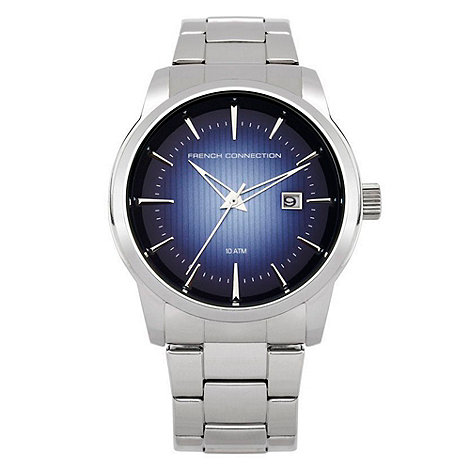 French Connection - Men+s silver striped analogue dial bracelet watch
