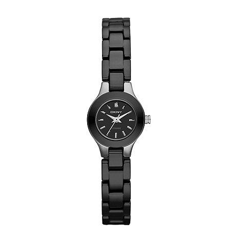 DKNY - Ladies black round ceramic watch