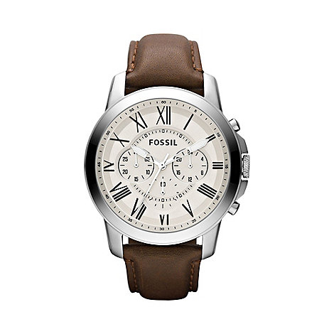 Fossil - Men+s brown round chronograph watch
