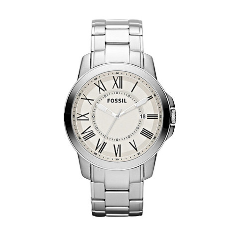 Fossil - Men+s silver round dial bracelet watch