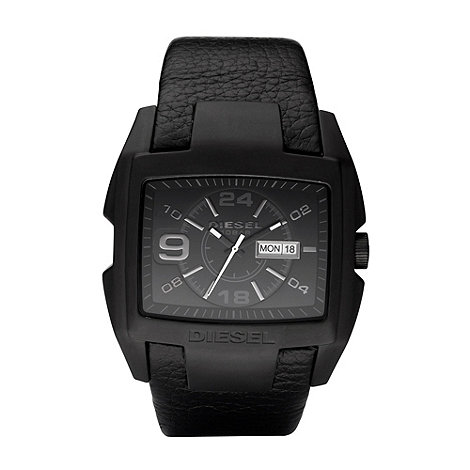 Diesel - Men+s black rectangle dial date watch