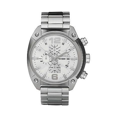 Diesel - Men+s silver screw chronograph watch