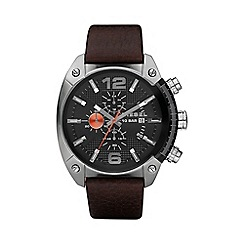 Diesel - Men's 'Overflow' black dial & leather strap watch dz4204